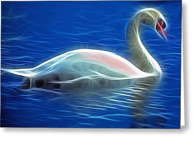 Fractal Swan  Greeting Card by Steve Ohlsen