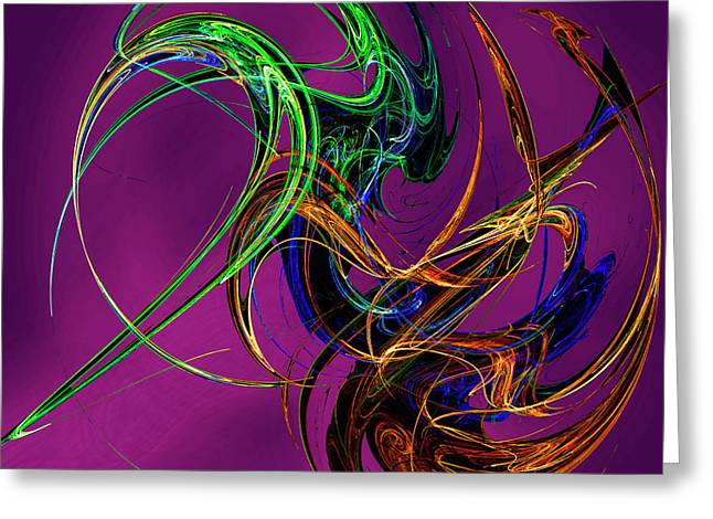 Fractal Tatoo-purple Greeting Card by Michael Durst