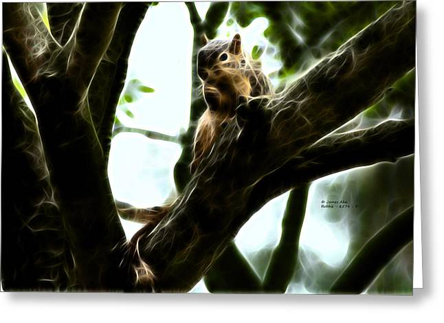 Fractal - Thumb Sucker - Robbie The Squirrel - 8574 Greeting Card by James Ahn