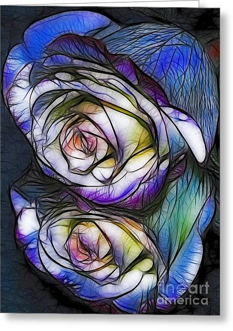 Fractalius Rose Reflection Greeting Card by Marianne Troia