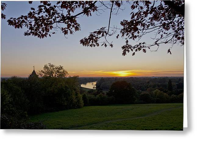 Greeting Card featuring the photograph Framed Sunset by Maj Seda