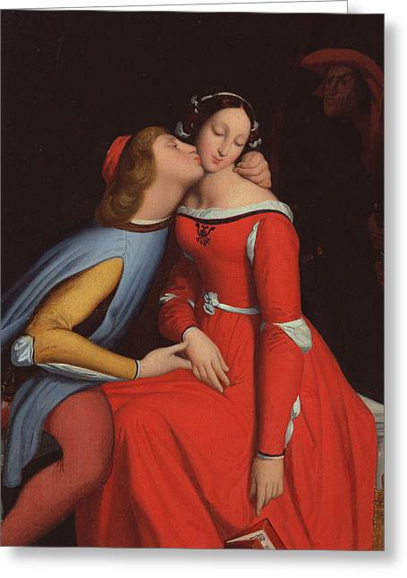 Francesca Da Rimini And Paolo Malatestascene  Greeting Card by jean Auguste Dominique Ingres