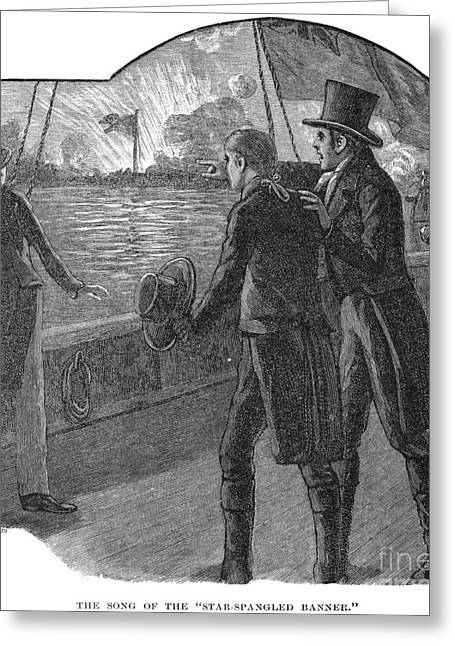 Francis Scott Key (1779-1843). American Lawyer And Poet. Witnessing The Bombardment Of Fort Mchenry, September 13-14, 1814: Wood Engraving, American, 1885 Greeting Card by Granger