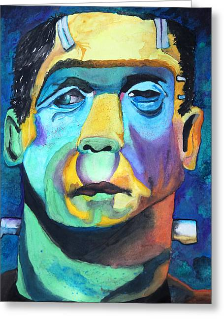 Frankenstein In Colour Greeting Card by Jacquie Waldman