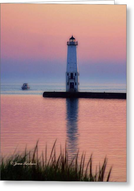 Greeting Card featuring the photograph Frankfort Lighthouse by Joan Bertucci