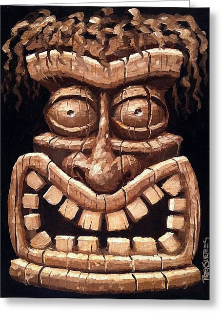 Freaky Tiki Man 2 Greeting Card by Trey Surtees