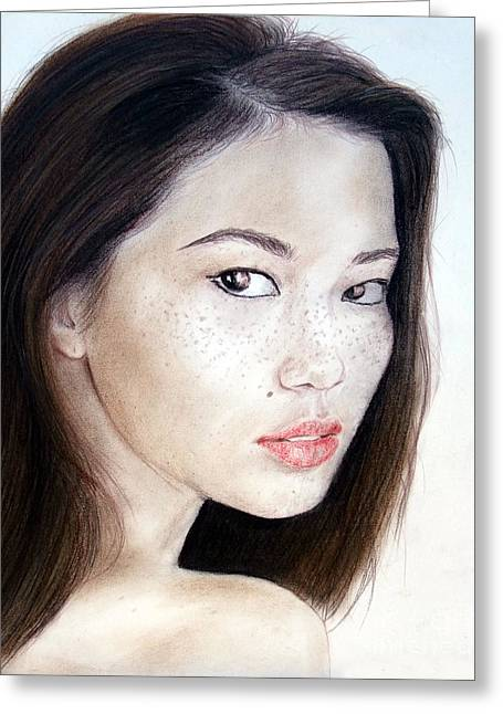 Freckle Faced Asian Model Greeting Card by Jim Fitzpatrick