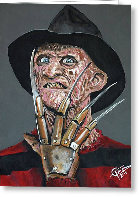 Freddy Kruger Greeting Card by Tom Carlton