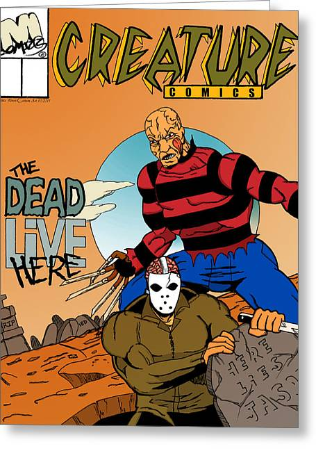 Freddy Vs Jason Greeting Card by Mista Perez Cartoon Art