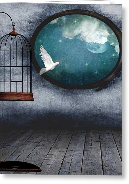 Free As A Bird Greeting Card by Marie  Gale