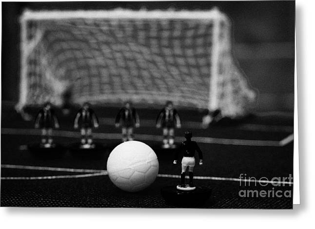 Free Kick With Wall Of Players Football Soccer Scene Reinacted With Subbuteo Table Top Football  Greeting Card by Joe Fox