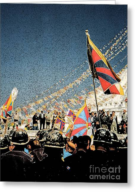 Free Tibet By Jrr Greeting Card by First Star Art