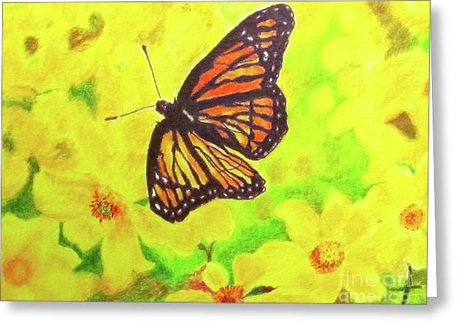 Greeting Card featuring the drawing Free To Fly by Beth Saffer