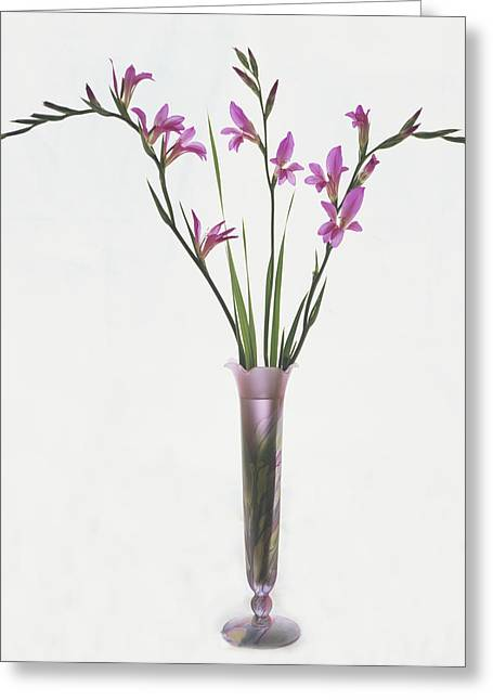 Greeting Card featuring the photograph Freesias In Vase by Susan Rovira