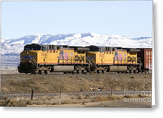Freight Train East Of Boise Greeting Card by David R Frazier and Photo Researchers