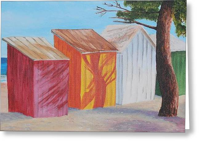 French Beach Huts Greeting Card by Siobhan Lawson