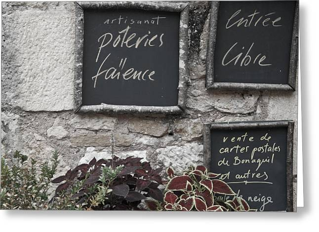 French Chalkboard Signs Greeting Card