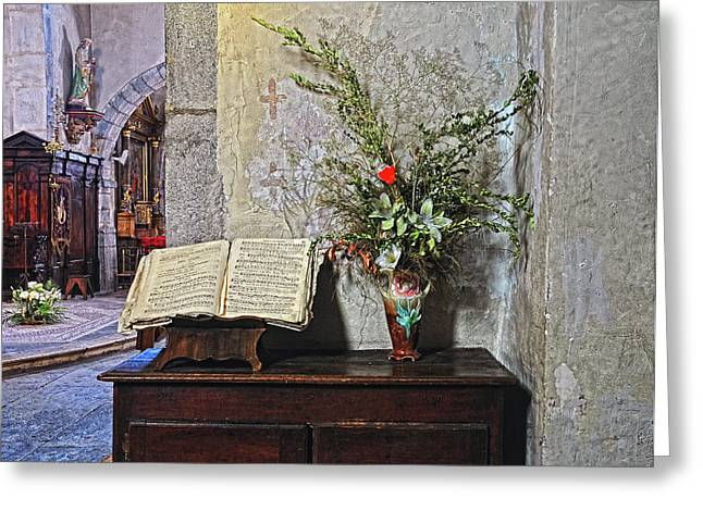 Greeting Card featuring the photograph French Church Decorations by Dave Mills