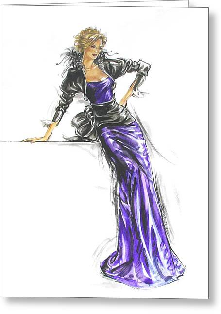 French Gown Fashion Illustration Greeting Card by Sharon Barner
