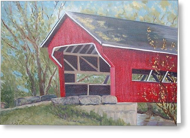 French Lick Covered Bridge Greeting Card by Julie Cranfill