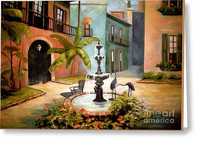 French Quarter Fountain Greeting Card