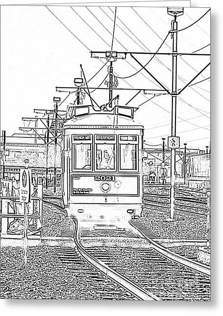 French Quarter French Market Cable Car New Orleans With Photocopy Greeting Card by Shawn O'Brien