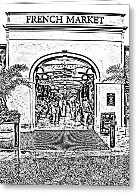 French Quarter French Market Entrance New Orleans Photocopy Digital Art Greeting Card by Shawn O'Brien