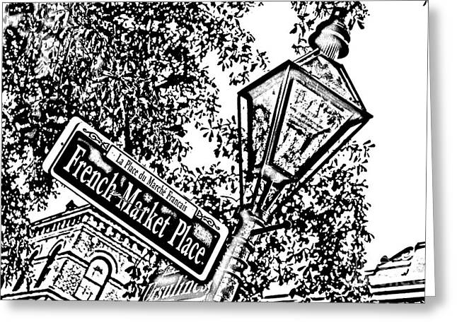 French Quarter French Market Street Sign New Orleans Photocopy Digital Art Greeting Card by Shawn O'Brien