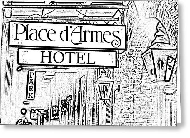 French Quarter Place Darmes Hotel Sign And Gas Lamps New Orleans Photocopy Digital Art Greeting Card by Shawn O'Brien