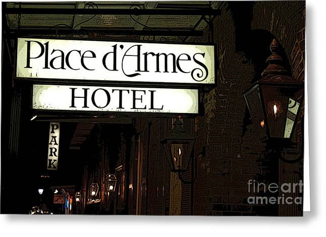 French Quarter Place Darmes Hotel Sign And Gas Lamps New Orleans Poster Edges Digital Art Greeting Card by Shawn O'Brien