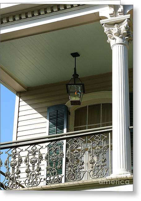 Greeting Card featuring the photograph French Quarter Porch by Jeanne  Woods