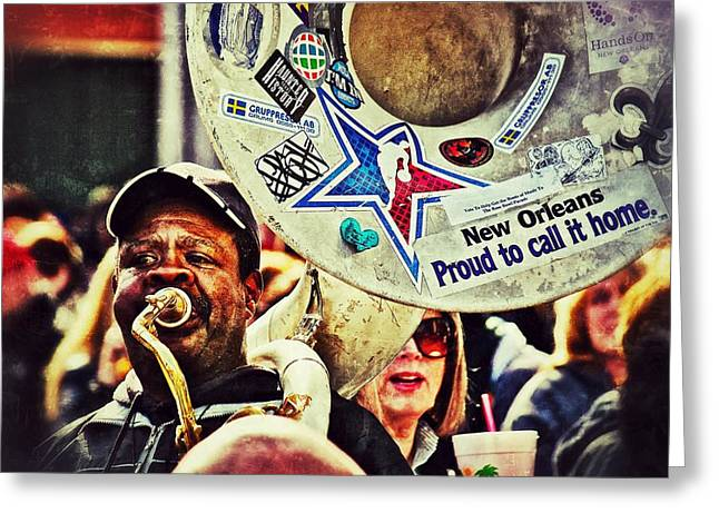 Greeting Card featuring the photograph French Quarter Tuba Guy 1 by Jim Albritton