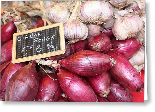 French Red Onions And Garlic Greeting Card by Yvonne Ayoub