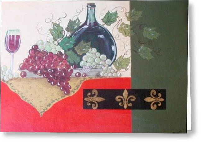 French Wine Greeting Card by Cindy Micklos