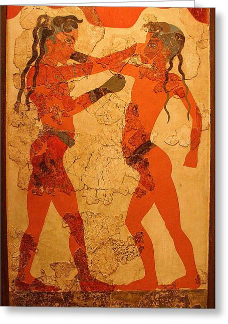 Fresco Of Boxing Children Greeting Card