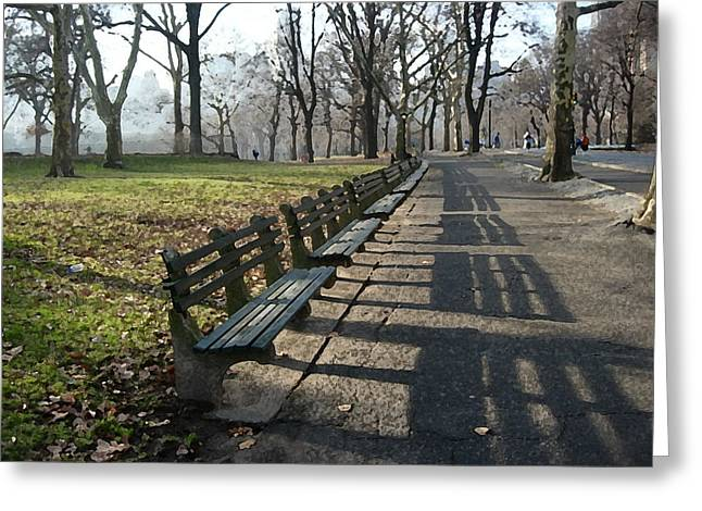 Greeting Card featuring the photograph Fresco Park Benches by Sarah McKoy
