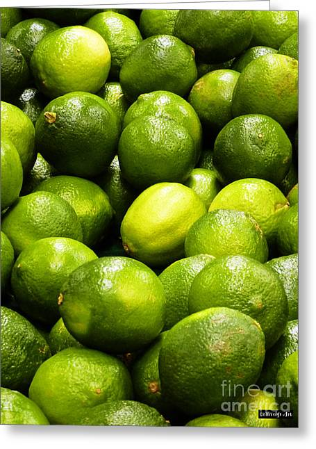 Fresh Limes Greeting Card by Methune Hively