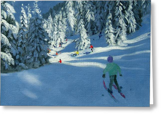 Fresh Snow Greeting Card by Andrew Macara