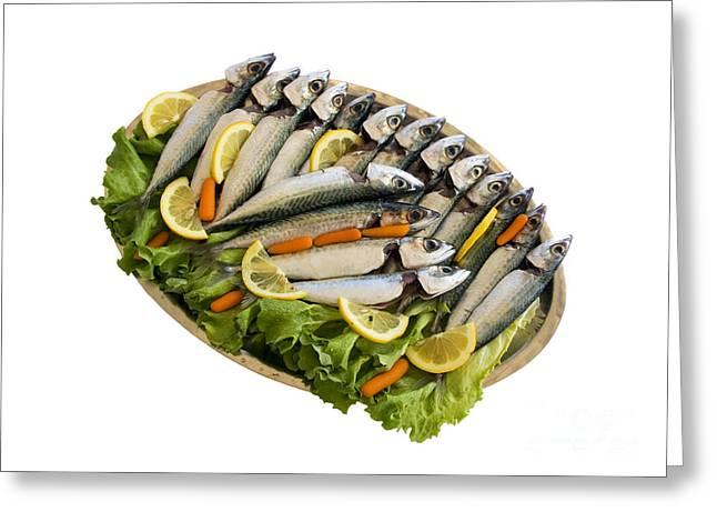 Fresh Uncoocked Fish Greeting Card by Soultana Koleska