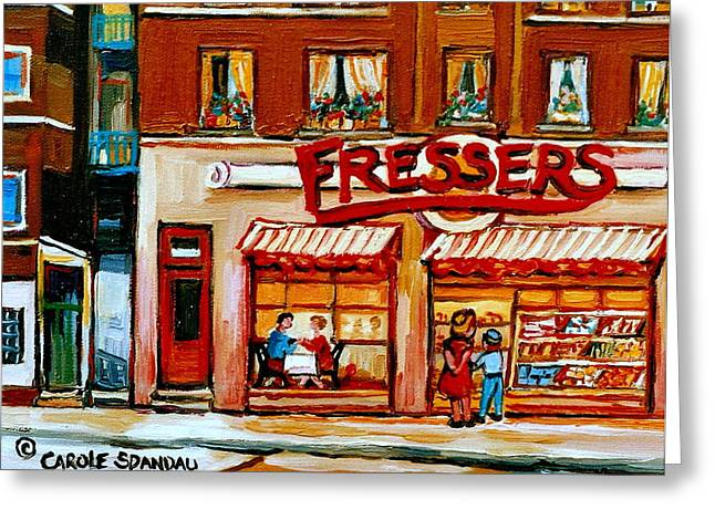 Fressers Deli Decarie Boulevard Montreal City Scenes Greeting Card by Carole Spandau