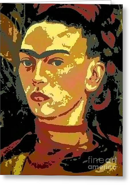 Frida Kahlo - Courage Personified Greeting Card by Angela L Walker