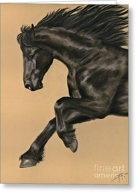 Greeting Card featuring the painting Friesian Portrait by Sheri Gordon
