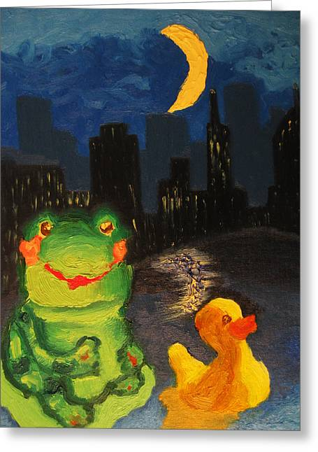 Frog And Duck Go To The Bog City By Way Of The Lake Greeting Card