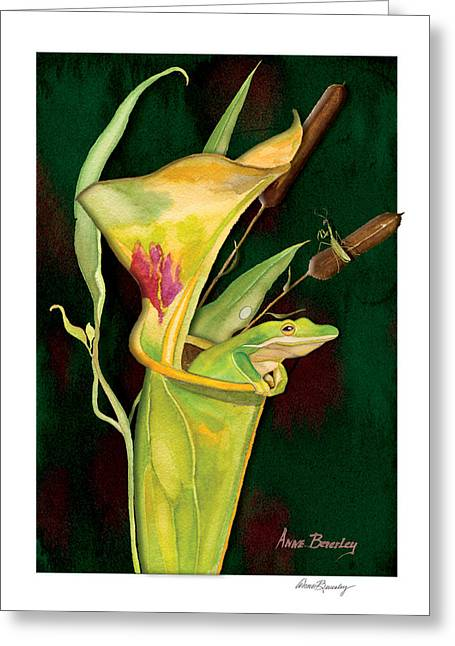 Greeting Card featuring the painting Frog In Green Pitcher Plant by Anne Beverley-Stamps
