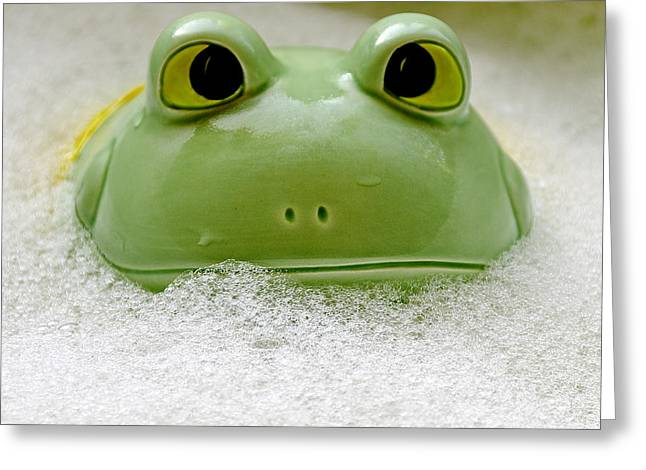 Frog In The Bath  Greeting Card by LeeAnn McLaneGoetz McLaneGoetzStudioLLCcom