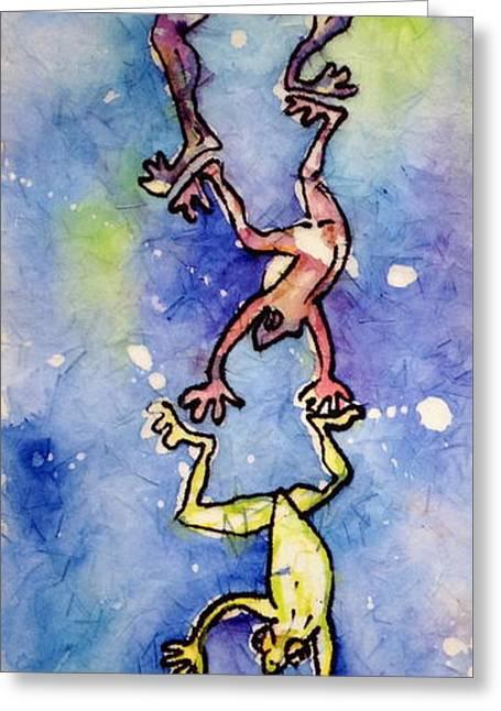 Frog Totemtoad'em Greeting Card by Gloria Avner