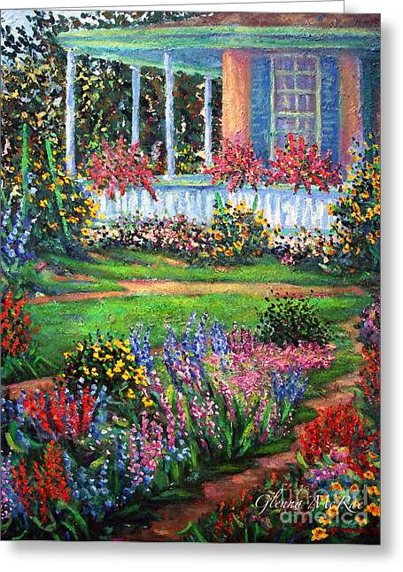 Front Porch And Flower Gardens Greeting Card by Glenna McRae