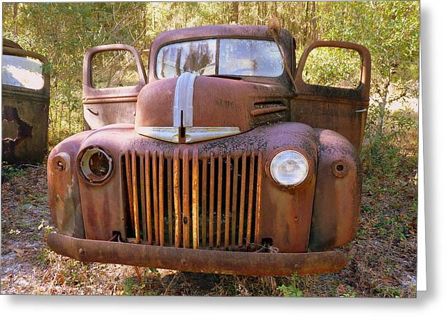 Front View Of Rusty Old Truck Greeting Card by Carla Parris