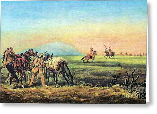 Frontiersmen And Native American Greeting Card by Photo Researchers