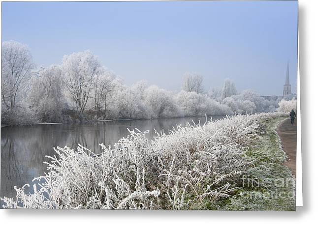 Frosty Morning Landscape Greeting Card by Andrew  Michael